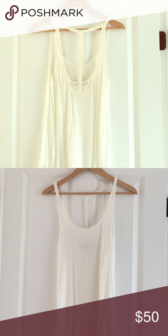 Reiss white top with braiding detail Long white sleeveless top with braiding detail on the back. Reiss Tops Tank Tops