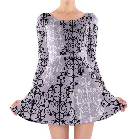 Black & White Damask Longsleeve Skater Dress Xs-3Xl All-Over-Print
