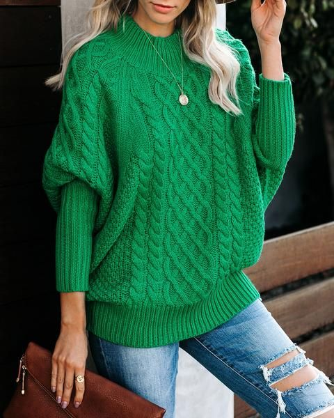 Bobsled Dolman Knit Sweater Kelly Green | Green knit