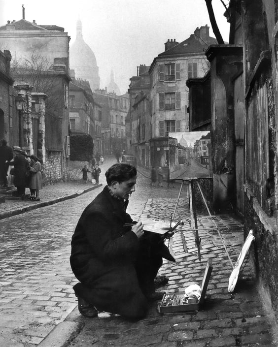 Painting sacré-coeur from the ancient rue norvins in montmartre, paris, 1946. Photo by Edward Clark, from the great LIFE photographers