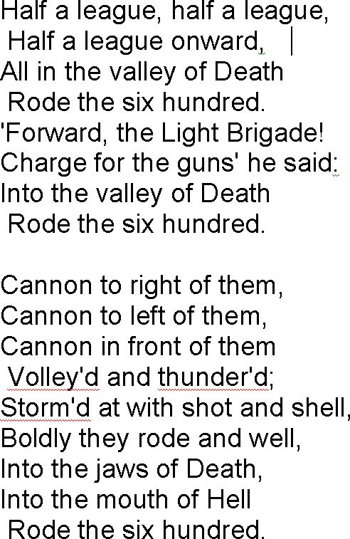 alfred lord tennyson the charge of the light brigade essay Essay: the charge of the light brigade – alfred tennyson 'the charge of the light brigade' is a poem by alfred, lord tennyson this poem tells the story of the battle of balaclava where a.