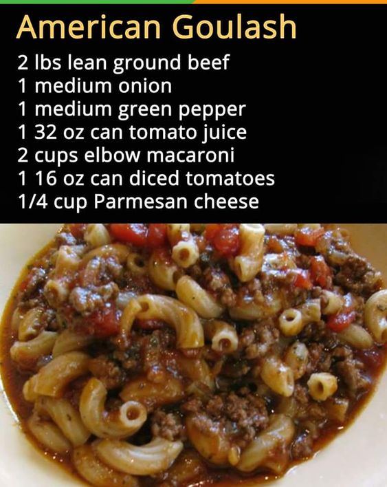Possible directions:  fry up ground beef, onions, peppers, add tomato juice, tomatoes and cheese, simmer it a little then add you're cooked drained pasta to it mix it all together real well