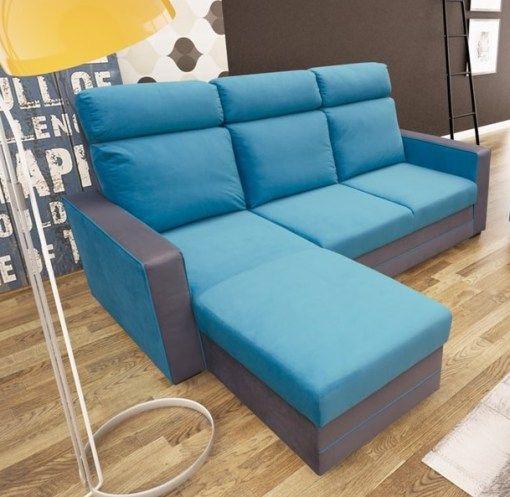 Sofá chaise longue cama – Miami Tapizado en tela de color azul