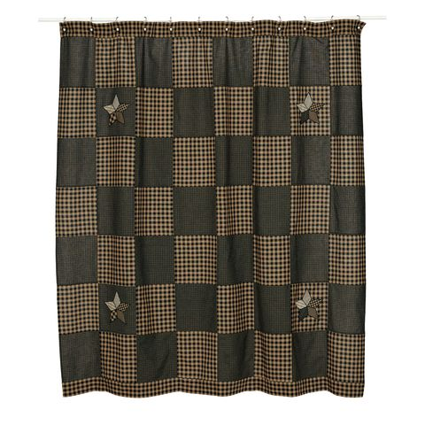 "The Farmhouse Star Shower Curtain measures 72"" x 72"" and features a checker board pattern with alternating black and tan check fabrics. Accented corners with 5-point stars in black, tan and creme. Straight edge; Features 1.5"" header with 1"" button holes. Single Fabric and Machine Stitched."