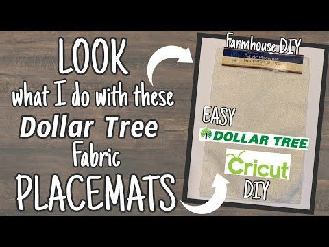 Look What I Do With These Dollar Tree Placemats Easy Dollar Tree Cricut Diy Youtube Dollar Tree Cricut Cricut Vinyl Projects Dollar Tree Dollar Tree