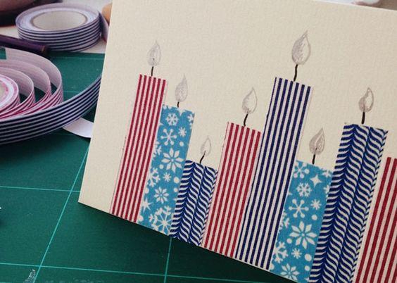 So eine einfache Idee und doch so wirkungsvoll. Das aufgeklebte Masking Tape in verschiedenen Höhen ergibt eine bunte Kerzenlandschaft. Foto: Lisa und Theresa