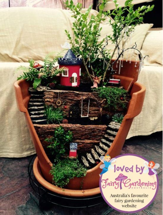 fairy garden pots. Broken Pot Fairy Garden Tutorial With Video | Fairy, Tutorials And Gardens Pots
