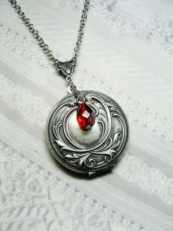 Silver Locket Necklace - ORIGINAL Elena's Locket VAMPIRE DIARIES - Jewelry by BirdzNbeez -  Wedding Birthday Bridesmaids Gift. $26.00, via Etsy.