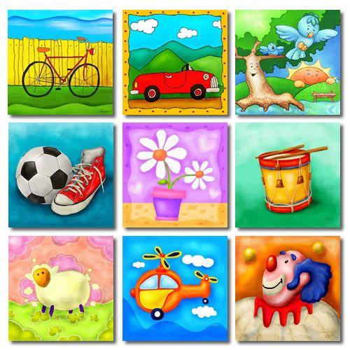 Cuadros para ni os de colores muy vivos cuadros - Cuadros para habitaciones infantiles ...
