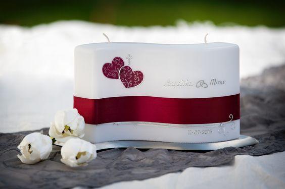 klassische Hochzeitskerze von www.diekerzentante.at doppelflammige Wellenkerze, Farben frei wählbar