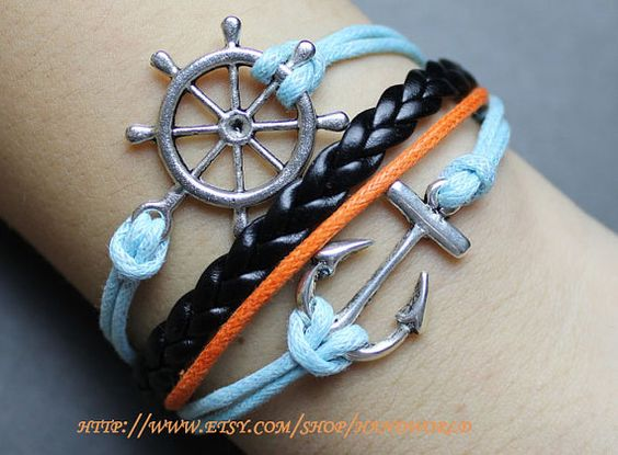 jewelry bracelet silvery rudder  anchor bracelet by handworld, $5.99  LOVE!