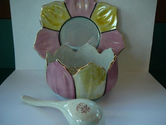 Vintage Goldcastle Mayonnaise Dish Plate Spoon Chikusa Japan Porcelain Luster | eBay