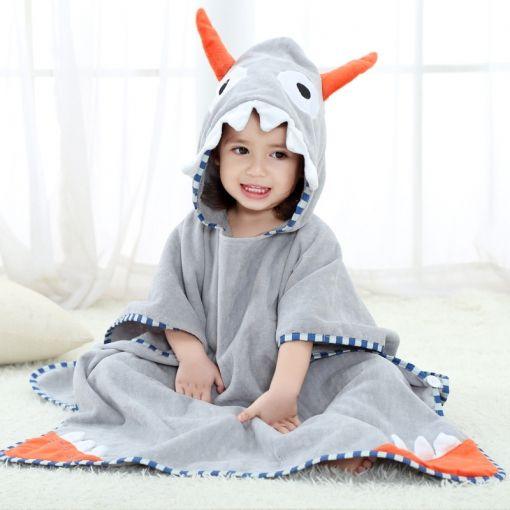 Baby Grey Ox Horn Face Hooded Bathrobe Towel Bathrobe Cloak Size