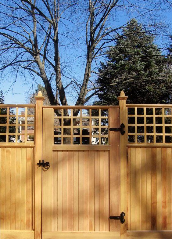 Privacy fence driveway gate mediterranean wooden