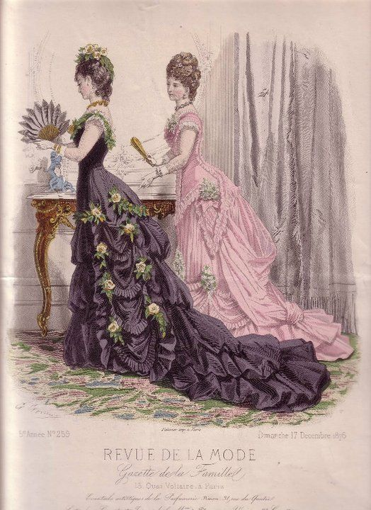 revue de la mode 1876 parasol shaped pocket on the pink dress with posies in it you wouldn. Black Bedroom Furniture Sets. Home Design Ideas