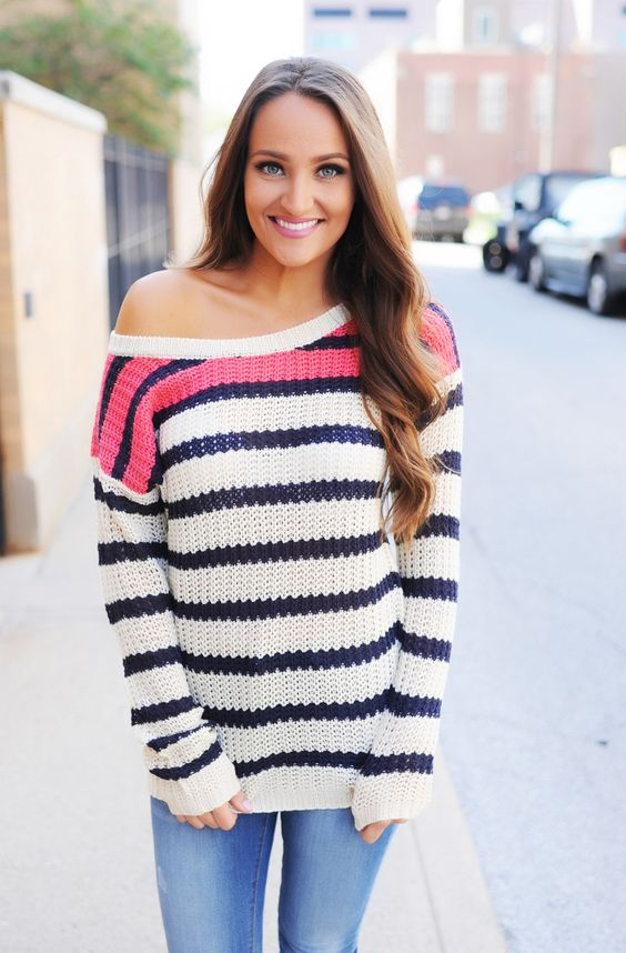 Pink/Navy/Cream Striped Sweater - Dottie Couture Boutique