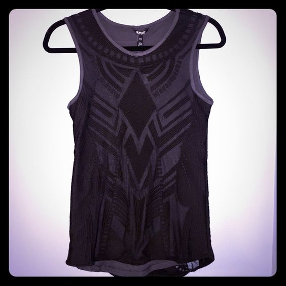 Buffalo David Bitton Sleeveless Top Price drop ⬇️ Never worn! Gray lining with sheer black embroidered top layer! Can be dressed up or down. Buffalo Tops Tank Tops