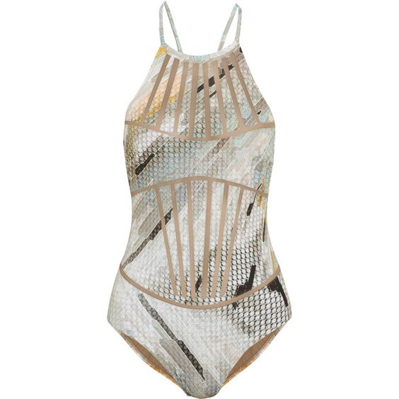 La Perla Jaisalmer mesh-paneled printed swimsuit ($200) ❤ liked on Polyvore featuring swimwear, one-piece swimsuits, neutral, mesh one piece swimsuit, la perla, swimsuit swimwear, swim suits and la perla swimsuit