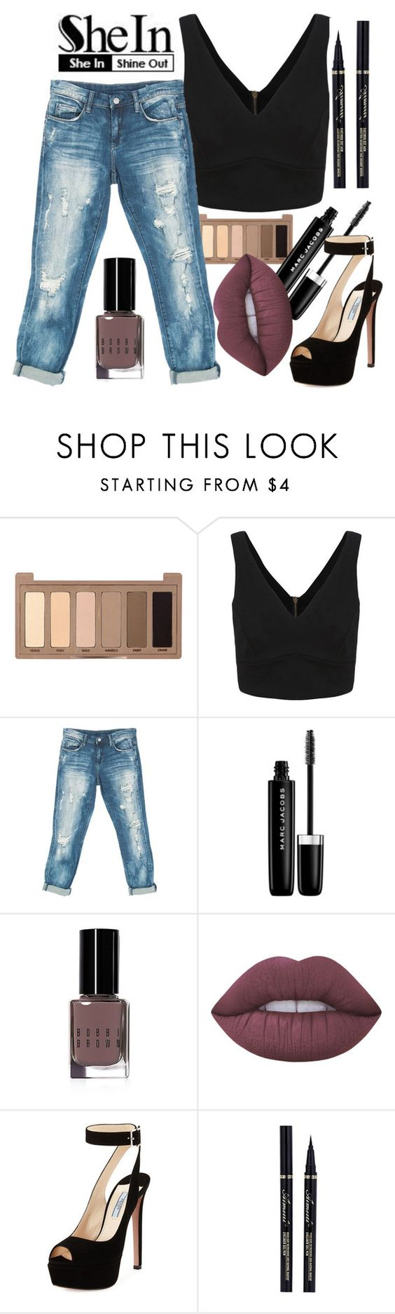 """"" by maiiira-nair ❤ liked on Polyvore featuring Urban Decay, Sans Souci, Marc Jacobs, Bobbi Brown Cosmetics, Lime Crime and Prada"