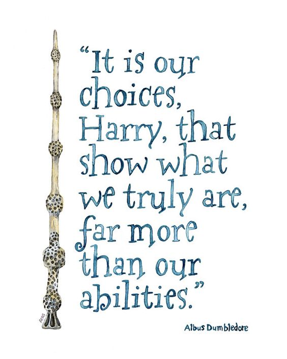 "LARGE Harry Potter Quote - Sizes 16x20 and up! Print from Watercolor Painting, ""Choices"", Harry Potter, Albus Dumbledore Quote, JK Rowling"