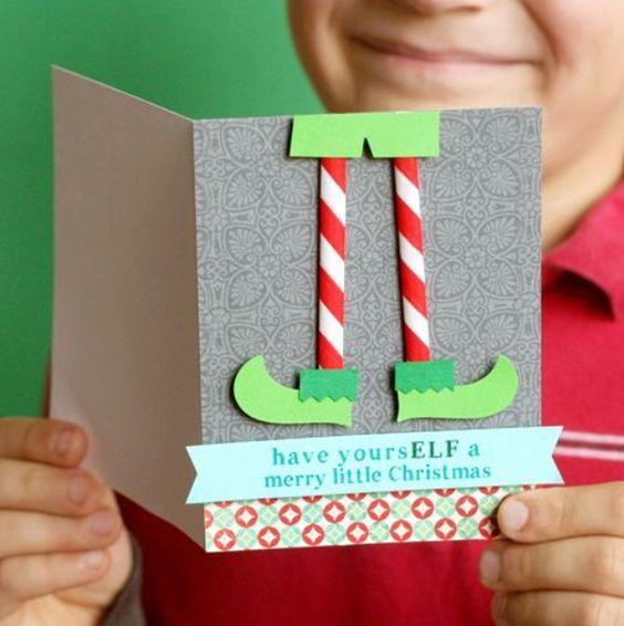 Postal Navideña De Elfo Tarjeta Navidad Infantil Tarjetas De Navidad Creativas Tarjetas De Navidad Hechas A Mano