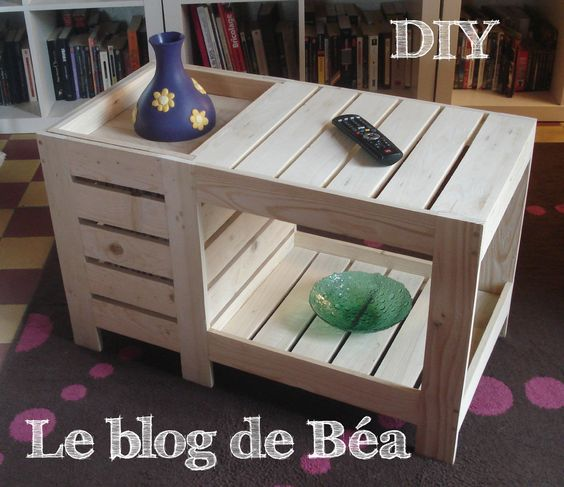 diy table basse en bois de palette avec coffre de rangement le blog de b a made of wood. Black Bedroom Furniture Sets. Home Design Ideas