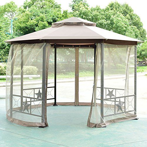Tangkula Gazebo 2tier 125ft Octagon Outdoor Patio Fully Enclosed Steel Frame Gazebo Canopy Tent With Netting Amazon Gazebo Canopy Pergola On The Roof Gazebo