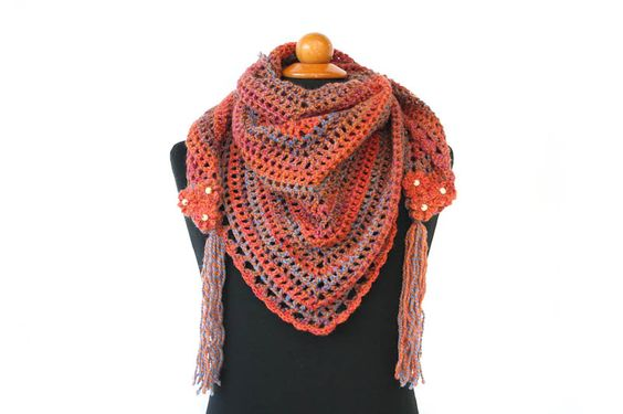 """Crochet simple and elegant Triangle scarf with flower tassels in each wide ends. It is made with 30% Wool & 70% Acrylic yarn, verywarm and beautiful color way. Scarf style is trianglewhich can be styled as you want. It is perfect for gift to your loved one.  Scarf's measurement: Width : 135 cm (53"""") Height: 66 cm (26"""")  Washing In"""