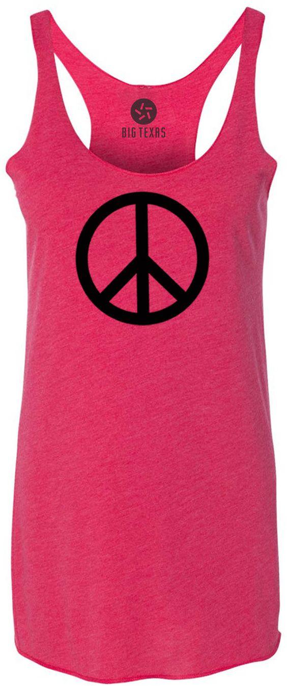 Small Peace Sign (Black) Tri-Blend Racerback Tank-Top