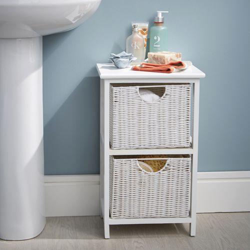 White Wood Wicker Style Bathroom Drawer Unit 2 Drawer