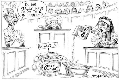 Zapiro -  Winnie Washing Her Dirty Linen in Public published in Sowetan on 20 Mar 1996: