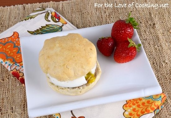 Sausage, Egg, and Biscuit Sandwich via fortheloveofcooking.com ...