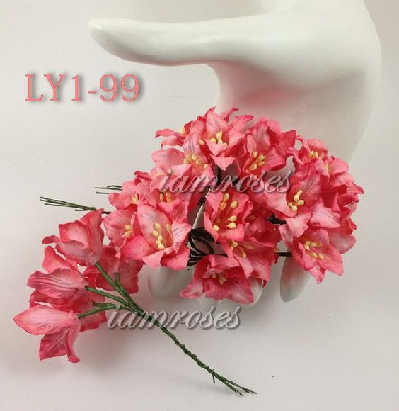 50 Ligth Coral Red Lily Wedding Scrapbooking Craft Mulberry Paper Flowers Paper Flowers Red Lily Wedding Scrapbook