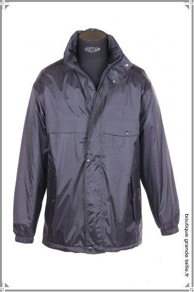 Coupe vent grande taille pour homme, tissu imperméable et coupe large, aisance des mouvements entièrement doublé.