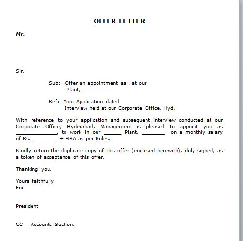 simple appointment letter format best template collection pdf - offer acceptance letters