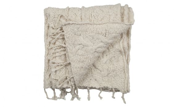 Cushy Cable Knit throw from Jaysonhome.com is 100% wool and would last generations.