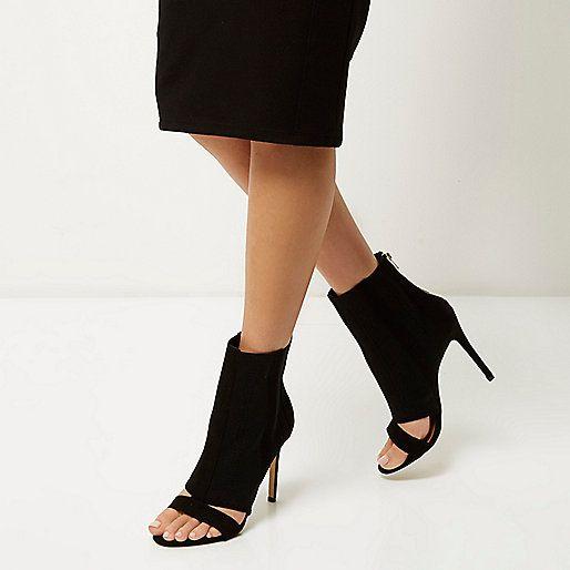 Zwarte gebreide peeptoe-laarsjes met hakken - laarzen - schoenen / laarzen - dames