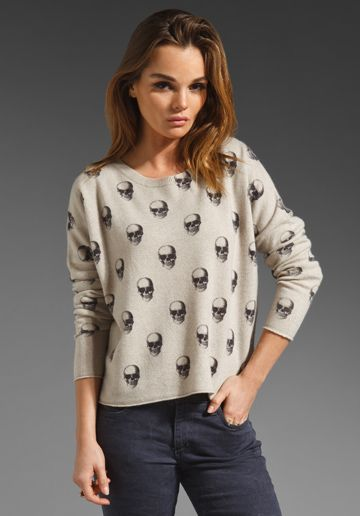 360 SWEATER Jackaline Cashmere Skull Crew in Bone