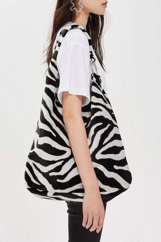 Topshop Kenya Zebra Print Tote Bag