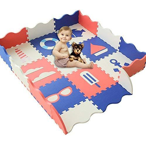 Han Mm Baby Foam Mat With Fence Non Toxic Crawl Mat Baby Tiles Play Puzzle Mat With Softer Thicker Eva Foam Mat For Kids Baby Play Mat Foam Flooring Baby Play