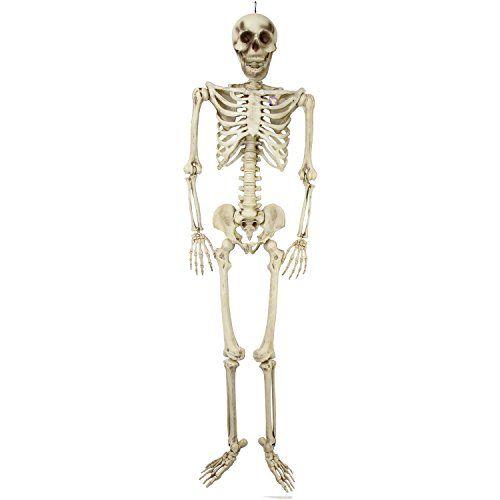 Halloween Haunters Giant 7 Foot Hanging Full Body Skeleton Plastic Prop Decoration Posable Joi Human Bones Halloween Outdoor Decorations Halloween Accessories
