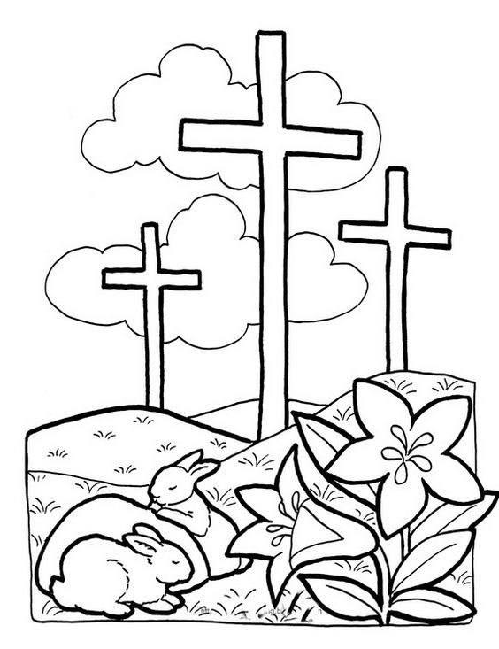 Good Friday Coloring Pages And Pintables For Kids Easter Coloring Pages Printable Free Easter Coloring Pages Spring Coloring Pages Preschool religious easter coloring