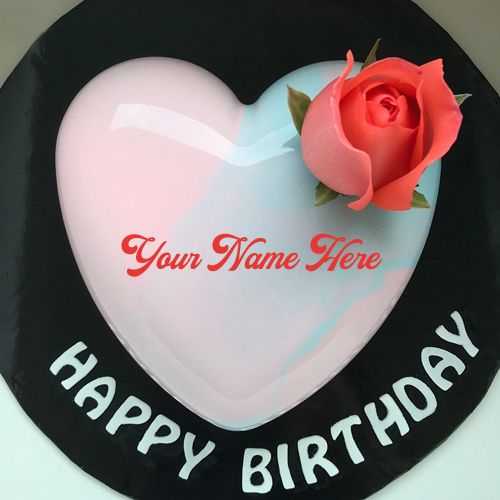 Heart Shape Romantic Birthday Wishes Cake With Name Print Name On