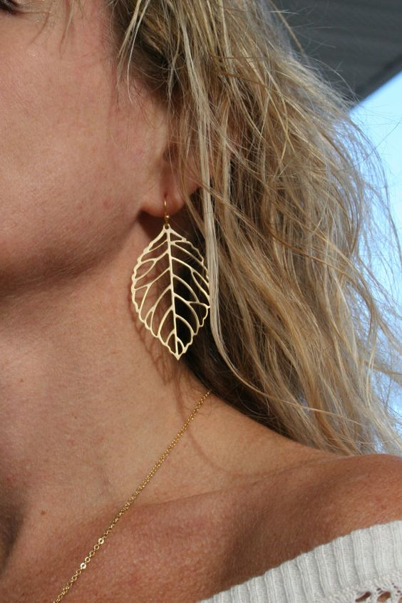 Gold Leaf Earrings.  gold earrings, Celebrity earrings, celebrity jewelry,gold dangle earrings,,  everyday jewelry, fall wedding on Etsy, $22.00