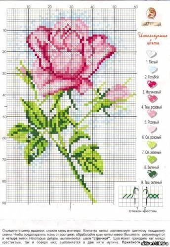 Вышивка крестом схемы цветы бесплатно розы