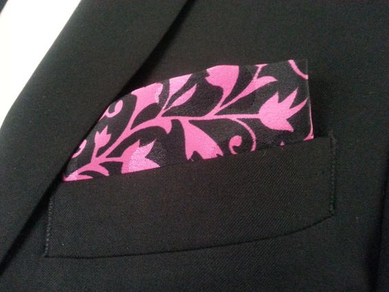 Pink Floral Swirl Pocket Square - Handcrafted by HandsomeJimmy on Etsy