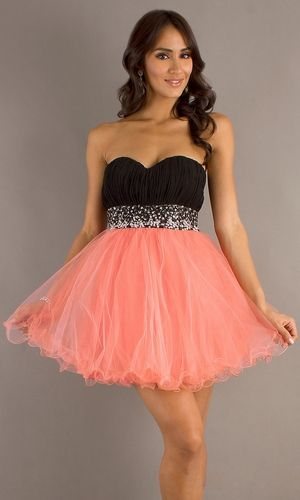 Short Poofy Black Coral Homecoming Dress Pleated Bodice Empire ...