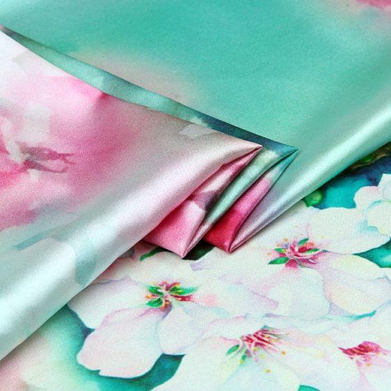 Seide Stoff Floral Print Seidenstoff Stretch Satin von AshleyFabric