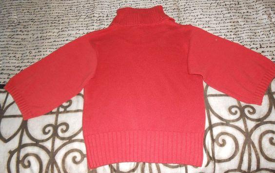 Womens Sweater Jeanne Pierre Coral color Turtleneck Sz M 3/4 Sleeve Cotton Solid…