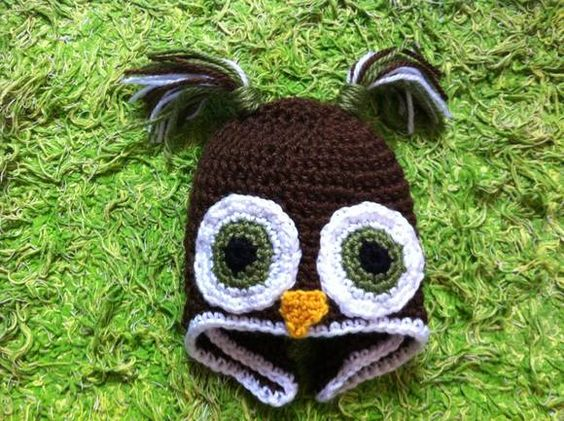 Owl crochet hat Vivi fez arte